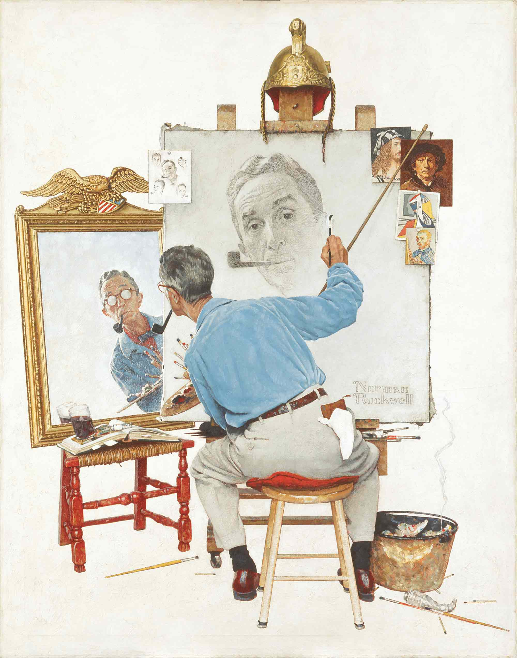 03 - Triple Self Portrait - Norman Rockwell