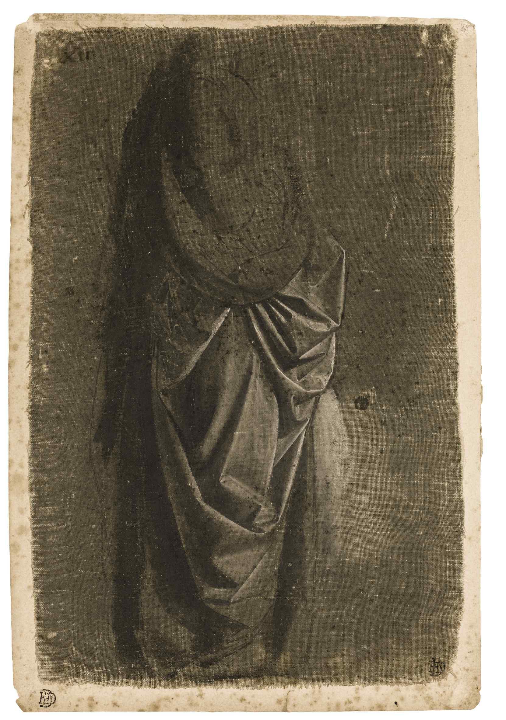Workshop of Verrocchio - Drapery Study of a figure facing right